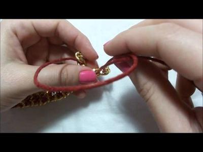 Tutorial: Pulseira com correntes e cordão encerado trançado