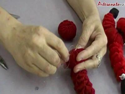 Vídeo Aula: Papai Noel de Fuxico - Artesanato na Rede [Parte 2]