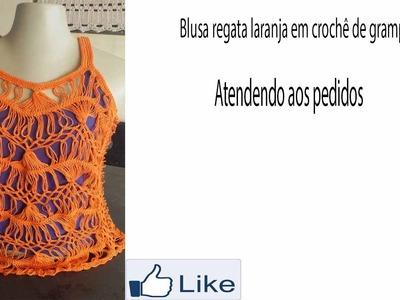 Blusa regata laranja em crochê de grampo!!!