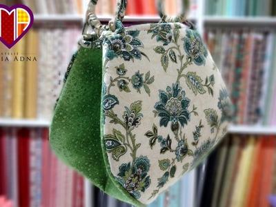 Bolsa em tecidos Tahiti - Maria Adna Ateliê - Cursos.aulas de bolsas em tecido passo a passo