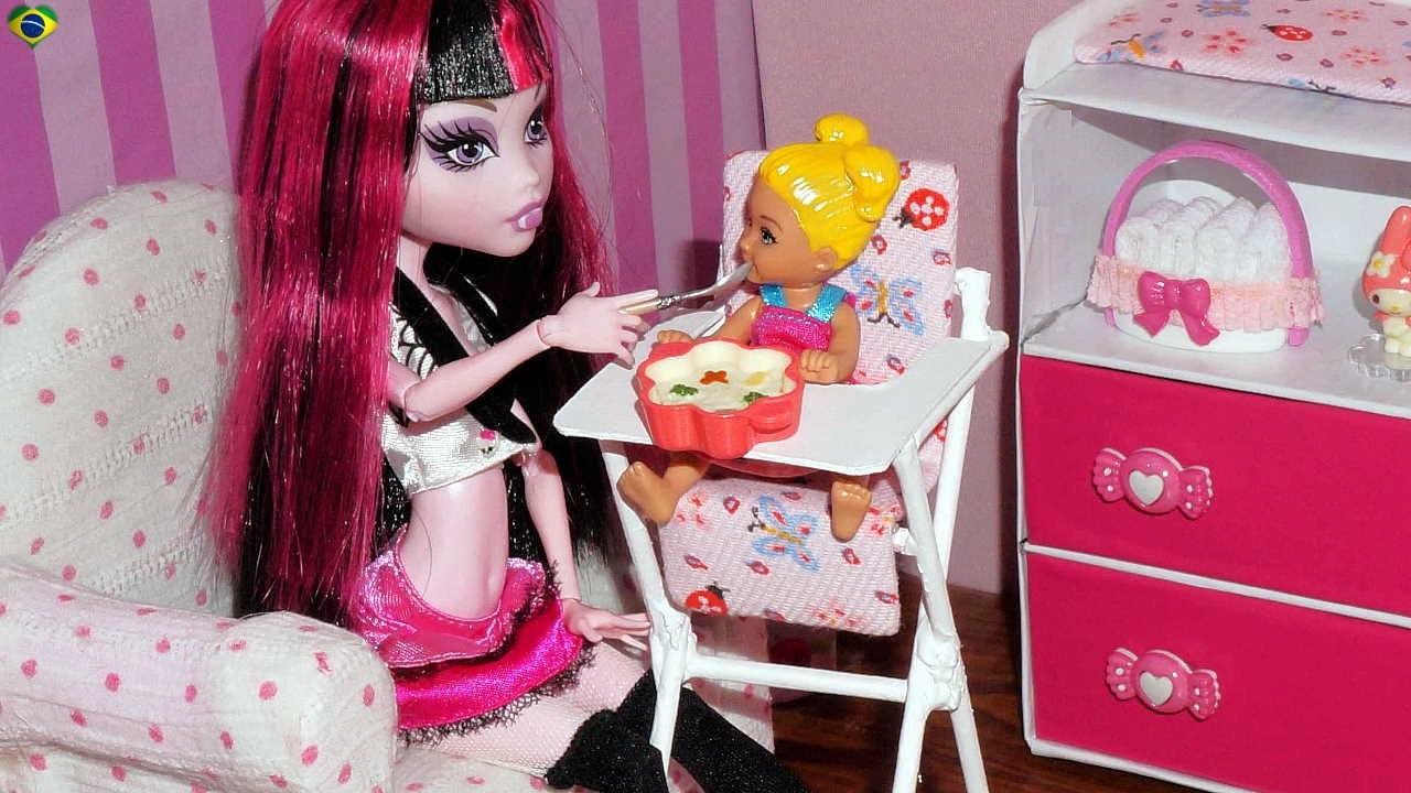 Como fazer cadeira de alimentação para bebê de boneca Monster High, Barbie, MLP, EAH, etc
