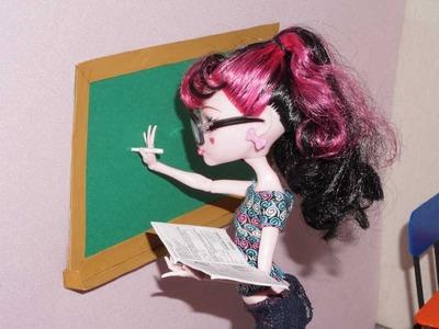 Como fazer quadro negro (lousa) para boneca Monster High, Barbie, MLP, EAH, etc