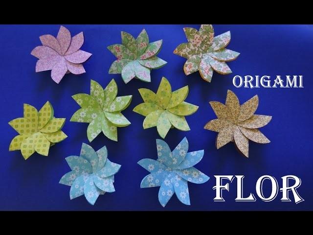 Como fazer uma Flor de Papel Origami Dobradura Papiroflexia