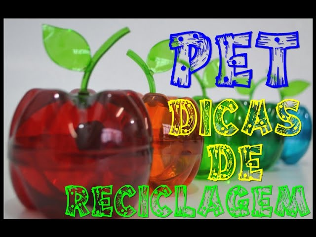 Como fazer uma maçã de garrafa pet com uma pintura colorida transparente