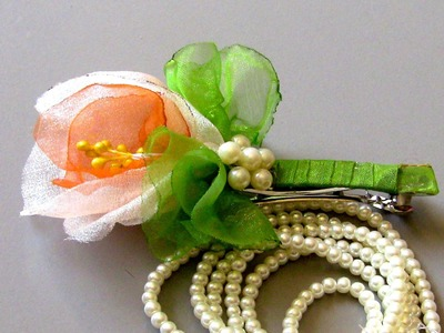 HOW TO MAKE ROLLED RIBBON ROSES- fabric flowers-Fivela com Flor de  Organza Passo a Passo