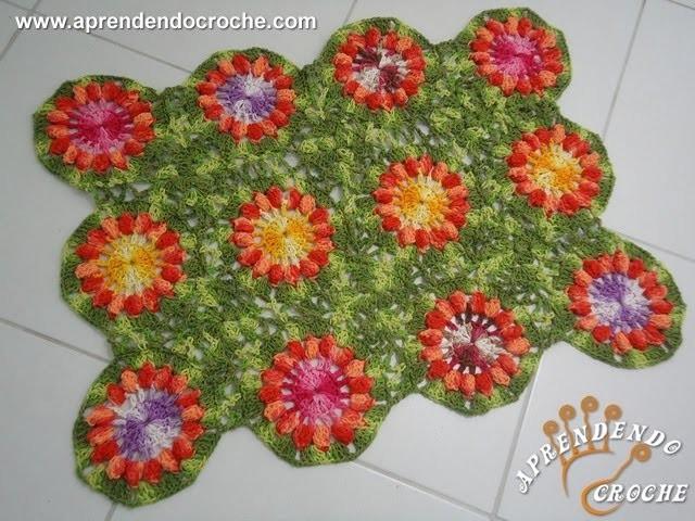 Tapete de Croche Flor Pipoca - Aprendendo Crochê
