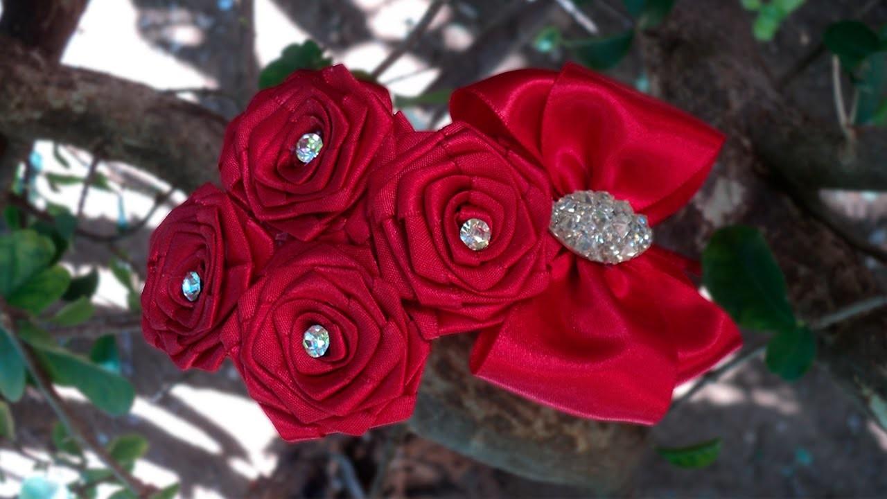 Tiara com rosas de fita   DIY - PAP