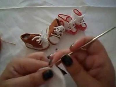Como fazer ténis para bebe em croché-parte 2