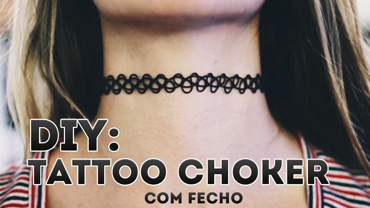 DIY - Como fazer tattoo choker | Aisha Faria