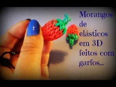 Moranguinho de elásticos em 3D,feitos com garfos.