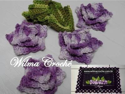 Passo a Passo de Flor e Folha em Crochê para Aplicação