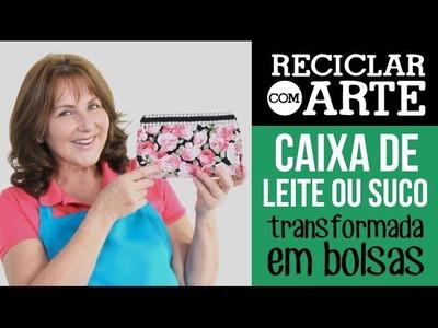 Bolsinha de caixa de leite - Reciclar com Arte