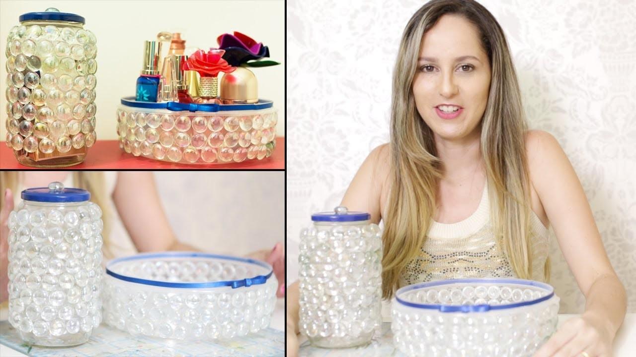 Como Fazer Artesanato com Potes Reciclados de Plástico e Vidro - Bandeja de Pedra