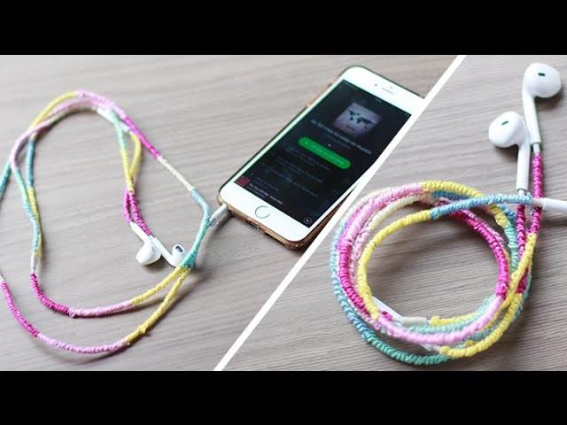 DIY: Fone de ouvido bordado com linha! ** Customização