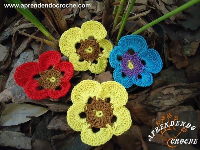 Flor de Croche Amor Perfeito - Aprendendo Crochê