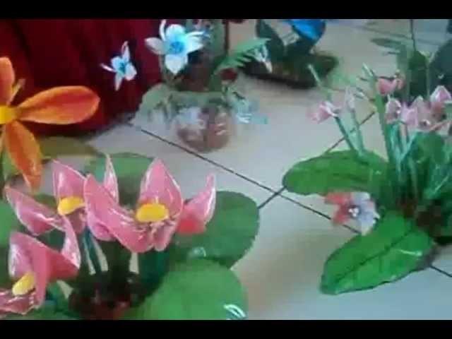 Flores garrafa pet.Dinha artesanatos