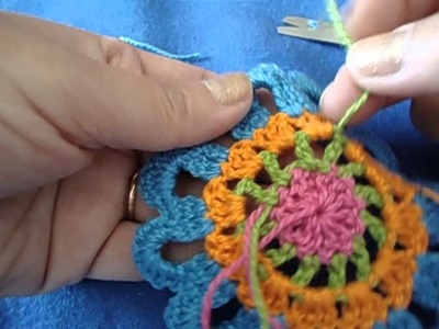 Como arrematar crochê - Flor 12 pétalas - para cortina de crochê