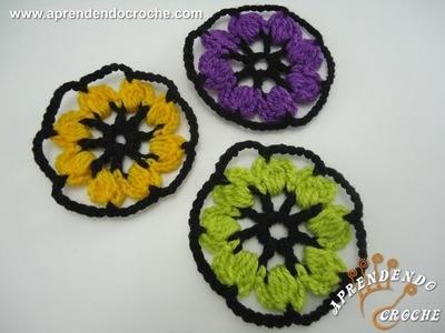 Flor de Crochê Colorida - Aprendendo Crochê
