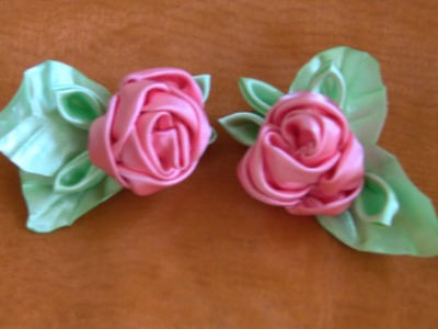 HOW TO MAKE ROLLED RIBBON ROSES- fabric flowers - Flor de fitas  com boca de jacaré Passo a Passo