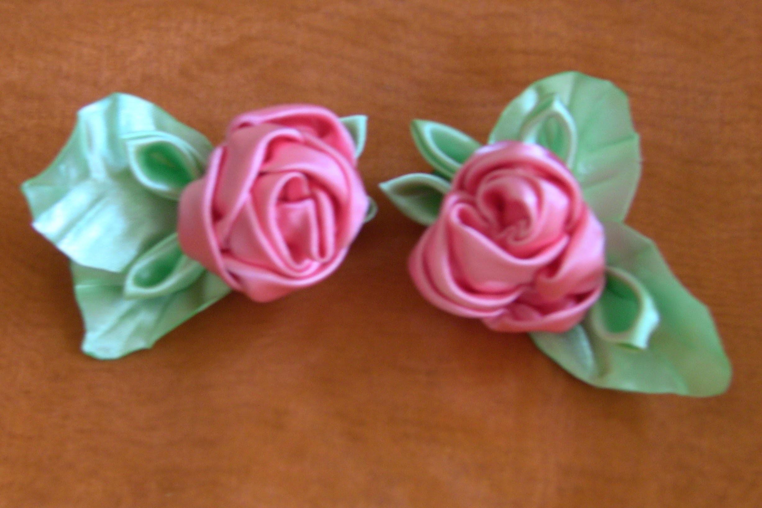 HOW TO MAKE ROLLED RIBBON ROSES- fabric flowers - Flor de fitas  com boca de jacaré Passo a Passo