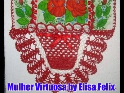 Pano de prato cesta em crochê (parte 2) #74 Vício feminino by Elisa Felix