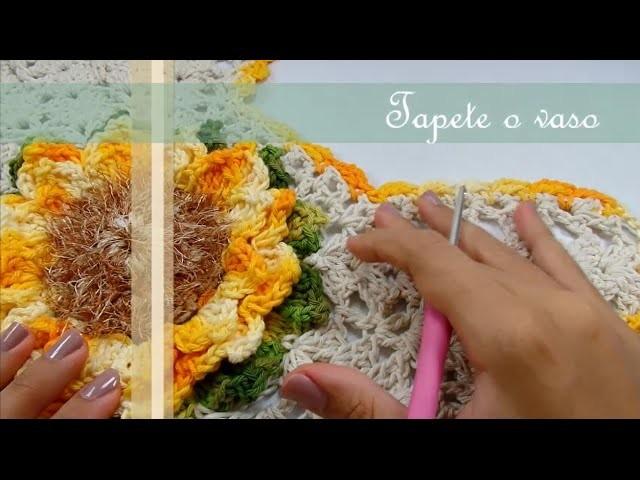 Passo a Passo Jogo de Banheiro Mega Girassol Barroco Tapete do vaso por JNY Crochê