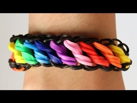 Tutorial,Como fazer pulseira Rotini Arco Iris   Rainbow Loom Passo a passo HD