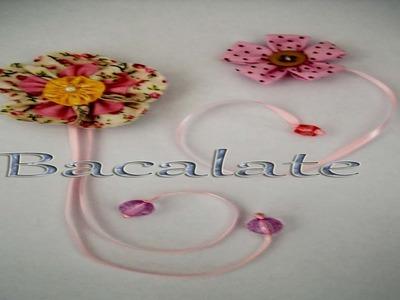 Artesanato MARCADOR de PÁGINA  Flor de Fuxico Lembrancinha DIA DAS MÃES ou Professores DIY