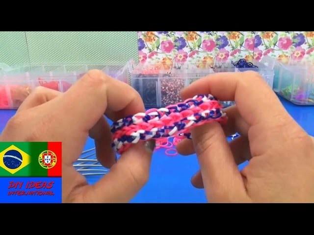 Pulseiras de elastico como fazer estilo TRIPLE SINGLE em português com garfos