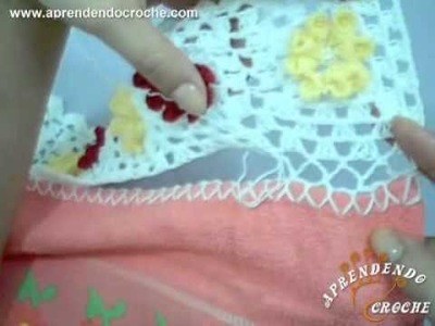 Como aplicar o barrado de croche na toalha  - Aprendendo Crochê
