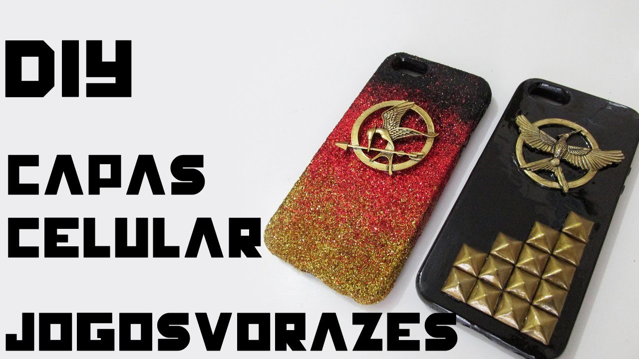 DIY: Capinhas de Celular JOGOS VORAZES (Phone Case Glitter em Degradé e Tachinhas - Hunger Games)