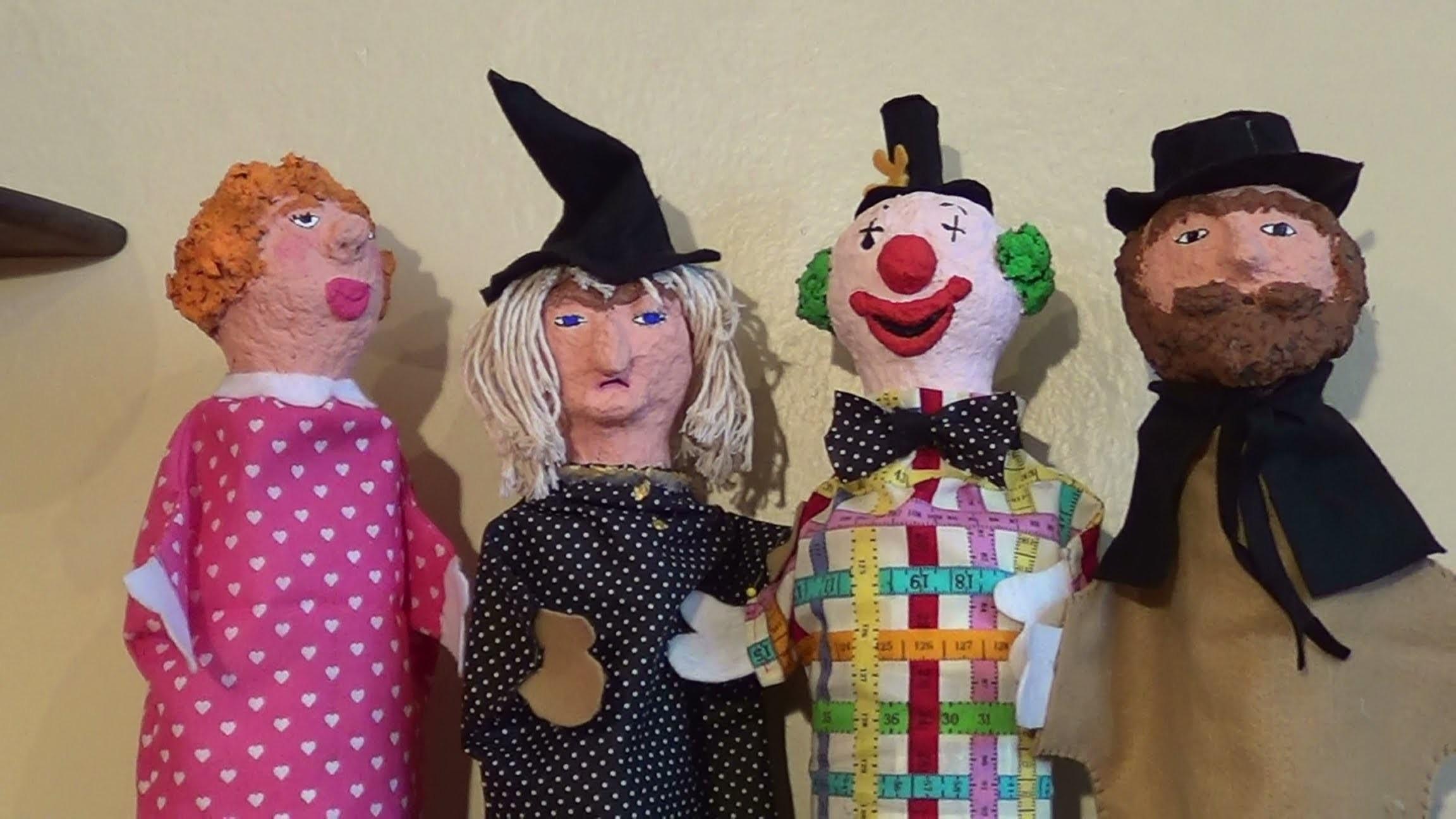 Fantoche de papel machê - Paper mache puppet - Títeres de papel maché