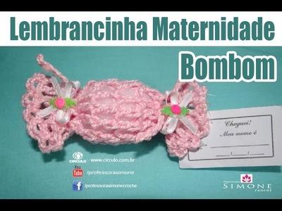 Lembrancinha de maternidade de crochê - BomBom - Professora Simone #crochet
