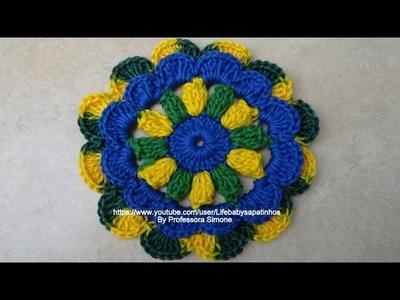 Passo a passo Flor Seleção Circulo em Crochê
