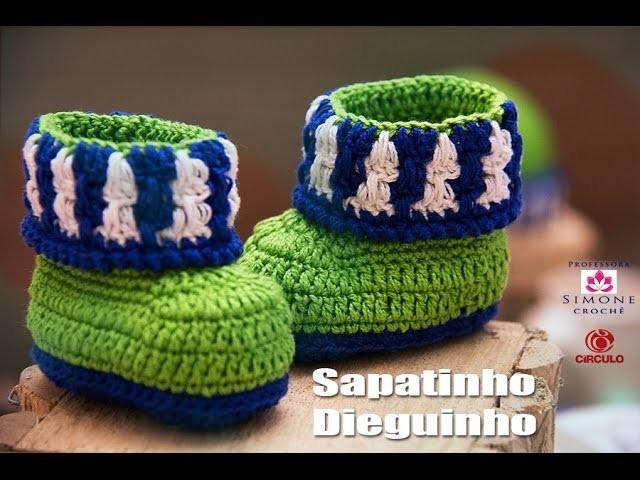 Passo a passo Sapatinho Crochê Dieguinho - Professora Simone