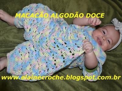 MACACÃO BEBÊ CROCHÊ ALGODÃO DOCE MANGAS E ACABAMENTO