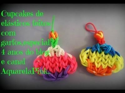 Cupcake de elásticos feitos com garfos,especial 4 anos do blog e canal(AquarelaPink)