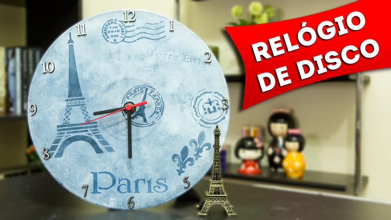 DIY: Faca Você Mesmo um Relógio de Disco de Vinil Reciclado - Artesanato Passo a Passo