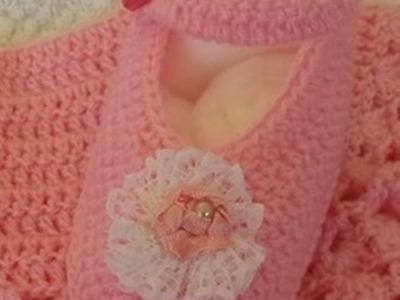 Sapatilha (sapatinho) Esperança em crochê para bebê - Fácil - Graça Tristão