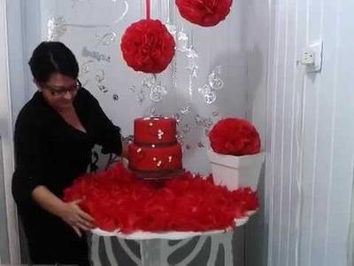 Aula 12 - Como fazer flores de papel de seda (bola) - Artesanato