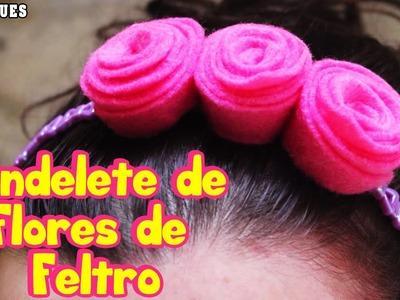Bandelete de Flores de Feltro    Felt Flower Head Band tutorial   Portuguese Arts & Crafts