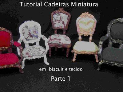 Cadeira miniatura em biscuit e tecido- parte 1