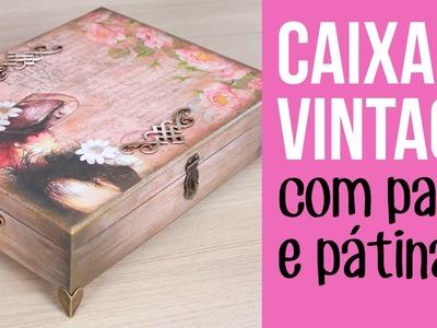 Caixa Vintage com Papel e Pátina