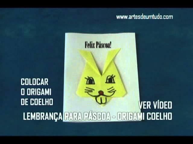 Cartão de Páscoa com Origami de Coelho