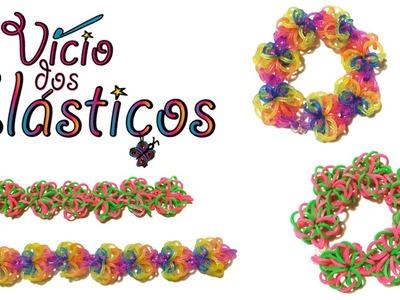 Como fazer Pulseira Flower Doily de elásticos - Rainbow Loom