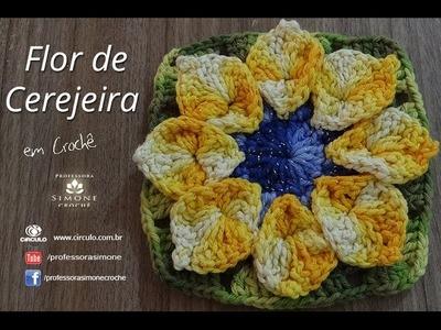 Flor de Cerejeira em Crochê - Professora Simone