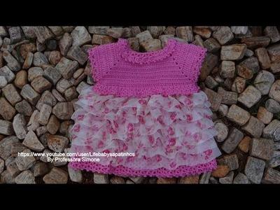 Passo a passo vestido em Crochê para Bebê -Babados parte-1