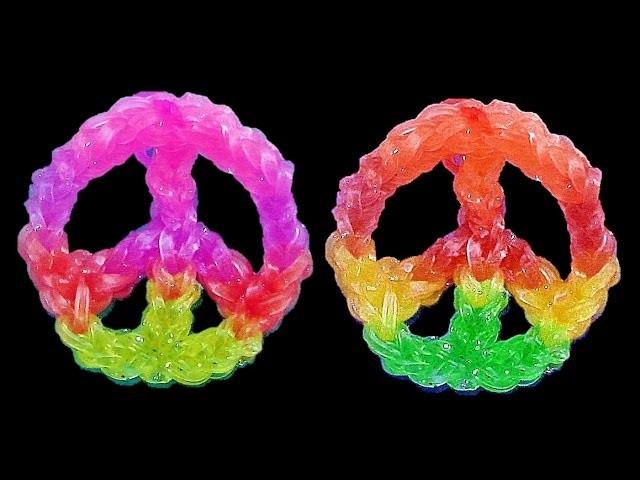 Pulseiras de Elastico - Paz || Como fazer Pulseiras com elasticos | Rainbow Loom Bands Charms