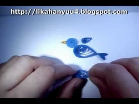 [Quilling] Projeto Pássaro Azul (Blue Bird) - Modelo 1 Versão 2 (Iniciante)