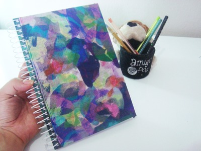 Tutorial Encapando Caderno com Tecido - DIY